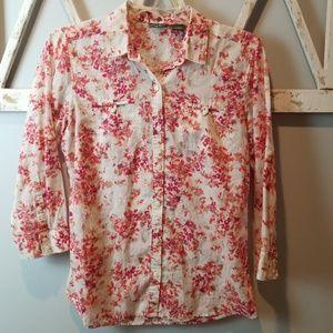 {Eddie Bauer} floral button down shirt Small